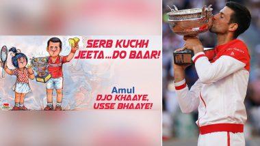 Amul Congratulates Novak Djokovic After Serbian Wins French Open 2021 Title (See Post)