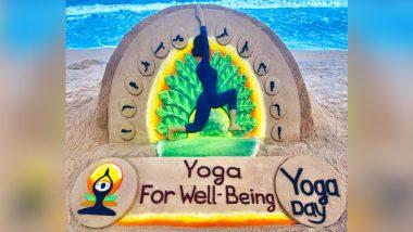 International Day of Yoga 2021: Sudarsan Pattnaik Creates Beautiful 'Yoga Day' Sand Art to Wish Everyone on June 21 (View Image)