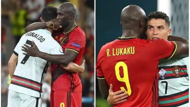Romelu Lukaku Comforts Dejected Cristiano Ronaldo After Portugal Gets Eliminated from Euro Cup 2020, Defending Champions Lose to Belgium 0-1 (Watch Video)