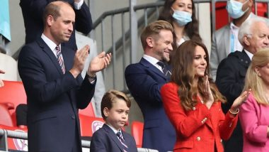 Euro 2020: Prince George Cheers England Soccer Team With The Duke and Duchess of Cambridge At Wembley Stadium (See Pics)
