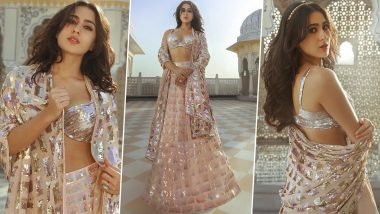 Sara Ali Khan Exudes Elegance in Manish Malhotra's Gorgeous Sequinned Peach-Hued Lehenga; See PHOTOS