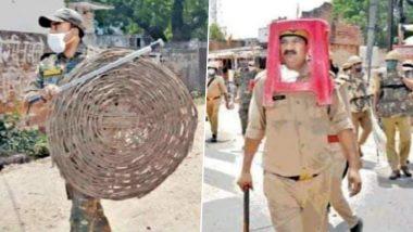 Uttar Pradesh: Cops Use Plastic Stool, Wicker Basket as Anti-Riot Gear in Unnao; Senior UP Police Officer Suspended