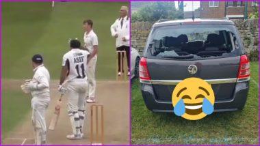 Illingworth St Mary's Cricket Club's Batsman, Asif Ali, Hits Six; Smashes his Car's Windscreen (Watch Video)
