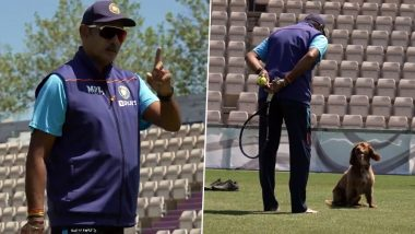 Ravi Shastri Plays Catch With New 'Buddy' Winston During Team India's Practice Session Ahead Of WTC Final 2021 (Watch Video)