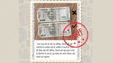 Rs 500 Note in Which Green Stripe Is Not Near RBI Governor's Signature Should Not Be Taken? PIB Fact Check Reveals Truth Behind Fake Post