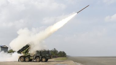 DRDO Successfully Test Fires Enhanced Version of Pinaka Rocket from Multi-Barrel Rocket Launcher in Odisha's Chandipur (See Pics)
