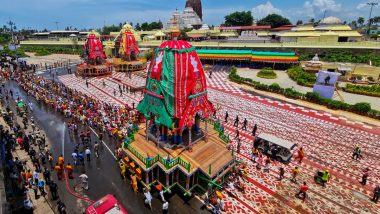 Jagannath Puri Rath Yatra 2021: Check Out Timings of Puja And Other Rituals; Know When And Where to Watch Live Streaming of Puri's Chariot Festival