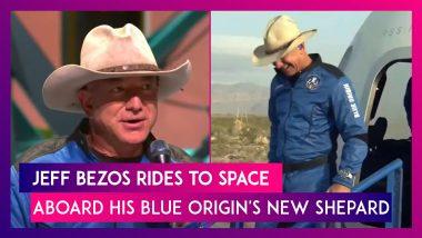 Jeff Bezos Rides To Space Aboard His Blue Origin's New Shepard