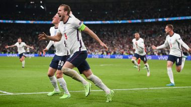 England 2-1 Denmark, Euro 2020: Harry Kane Sends Three Lions To First Major Final in 55 Years (Watch Goal Video Highlights)