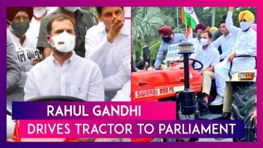 Rahul Gandhi Drives Tractor To Parliament, Demands Modi Govt Withdraw Farm Laws