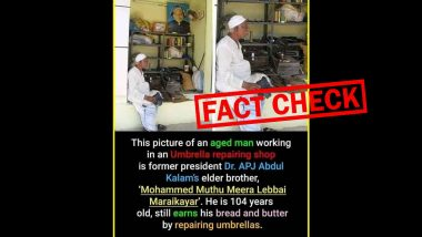 Fact Check: Viral Image Showing Dr APJ Abdul Kalam's Elder Brother Repairing Umbrella is Fake, Know The Truth Here