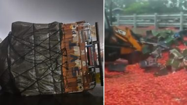 Thane: Around 20 Tonnes of Tomatoes Scatter on Eastern Express Highway After Tomato-Laden Truck Overturned (Watch Video)