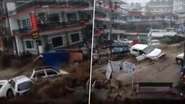 Flash Floods in Dharamshala: Heavy Rainfall Wreaks Havoc in Bhagsu Nag (Watch Videos)