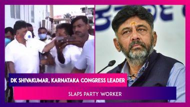 DK Shivakumar, Karnataka Congress Leader Slaps Party Worker; Video Goes Viral