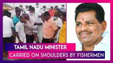Tamil Nadu: Minister Anitha Radhakrishnan Is Carried By Fishermen To Prevent His Shoes From Getting Wet