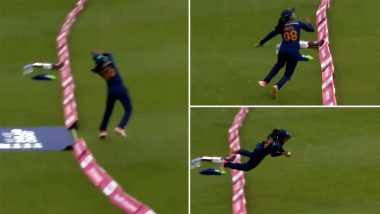 Harleen Deol Catch Video: Netizens In Awe of Indian Cricketer's Acrobatic Effort To Dismiss Amy Jones