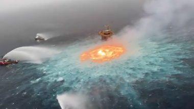 Heavy Underwater Fire Erupts in Gulf of Mexico Due to Gas Leak Near Pemex Oil Platform (Watch Video)