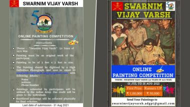 Swarnim Vijay Varsh Painting Competition: Indian Army Invites Application for Online Competition to Commemorate 50 Years of India's Victory Over Pakistan in 1971