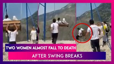 Two Women Almost Fall To Death After Swing Breaks On 6,300-Foot Cliff's Edge In Chilling Video
