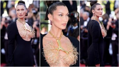 Bella Hadid Wears FRONTLESS Black Gown, Covers Her Assets With Golden Lungs Necklace Schiaparelli at Cannes 2021 Red Carpet (View Pics)