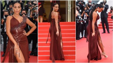 Cristiano Ronaldo's Girlfriend Georgina Rodriguez Exudes Modern Elegance at Cannes 2021 Red Carpet in Thigh-High Slit Chocolate Brown Gown (View Pics)