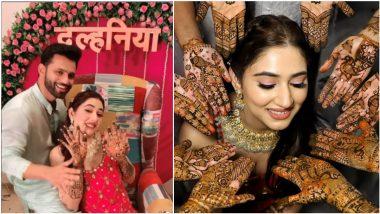 Disha Parmar Mehndi Ceremony Pics: Rahul Vaidya's Bride-To-Be Flaunts Beautiful Mehendi Design, Looks Gorgeous in Traditional Attire!