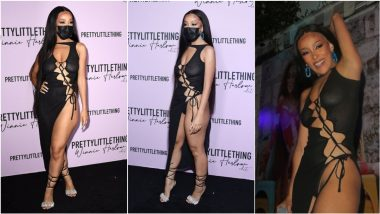 Doja Cat Ditches Bra but Not Mask From Her Most-Daring Look! View Pics of 'Kiss Me More' Singer in Lace-Up Cutout Dress With Bikini Bottom