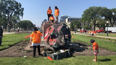 Queen Victoria Statue Toppled in Canada Amid Anger Over Deaths of Indigenous Children, Crowd Chants 'No Pride in Genocide'