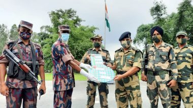 Eid-al-Adha 2021: Border Security Force 51 Battalion Exchange Sweets With Border Guards Bangladesh at Indo-Bangladesh Border in Panchagarh (See Pics)