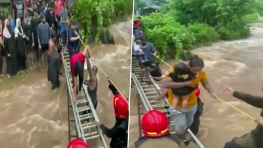 Navi Mumbai Rains: Cops Rescue 116 Revelers Stranded on Hill After Heavy Rainfall (Watch Video)