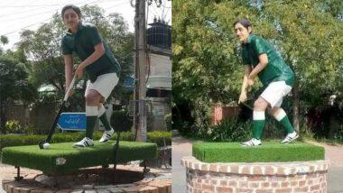 Hockey Stick and Ball Stolen From Pakistan Hockey Legend Samiullah Khan's Statue in Bahawalpur