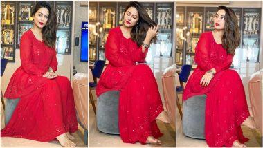 Eid Mubarak! Hina Khan Decks Up in All-Red Ensemble To Celebrate Eid al-Adha 2021, Shares Gorgeous Photos on Instagram