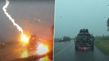Watch The Shocking Moment When Lightning Struck a Car Carrying a Family of Five In Kansas (See Video)