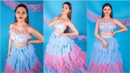 Rubina Dilaik Channelises Her Inner Princess in Pink-Sky Blue Top and Ruffle Skirt Co-Ord Set (View Pics)