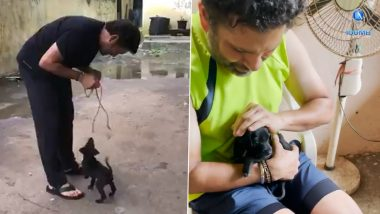 Jab Sachin Tendulkar Met Spike! Watch Video of Indian Cricket Icon Bonding With His Pet, a Lovable Black Indian Breed Pup