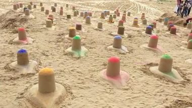 Sand Artist Ajay Rawat Creates 108 Colourful Shiva Lingams in Pushkar