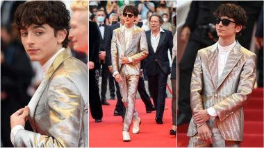 Timothée Chalamet Dons Silver-and-Gold Tom Ford Suit, Takes Our Breath Away With His Sartorial Choice at Cannes 2021 Red Carpet (View Pics)