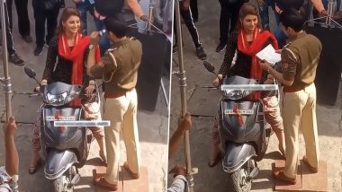 Urvashi Rautela's Scooty Stopped by Cop Who Asked Her Driving License, Here's How She Handled It (Watch Video)