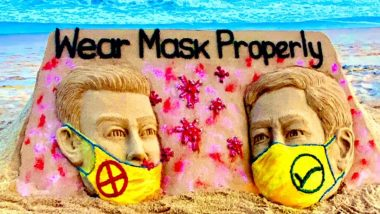 'Wear Mask Properly': Sudarsan Pattnaik Creates Sand Art to Spread Awareness About Importance of Face Masks Amid COVID-19 Pandemic