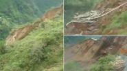 Kamrau Landslide: Entire Mountain Rolls Down in Himachal Pradesh's Sirmaur District, Blocks NH 707 Near Barwas; Scary Video Goes Viral