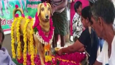 India News | Andhra: Bronze Statue of Dog Erected on Its Fifth Death Anniversary