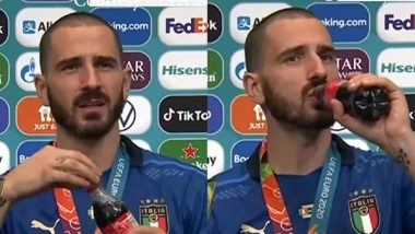 Leonardo Bonucci Sips Coca-Cola & Beer In Press Conference After Italy Wins Euro 2020, Says 'I'll Drink Everything Tonight' (Watch Video)