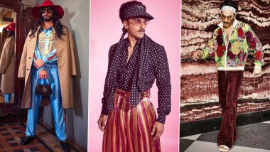 Ranveer Singh Birthday Special: Looking Back at 5 Quirky Outfits Worn by the Star Because Basic Has Never Been an Option for Him (View Pics)