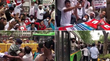 LPG Price Hike: Youth Congress Workers Protest Outside Petroleum Ministry in Delhi