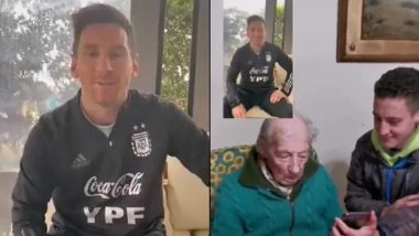 Lionel Messi Surprises a 100-Year-Old Fan With a Video Following Copa America 2021 Win (Watch Video)