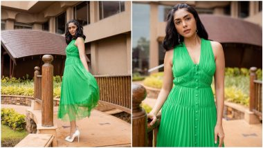 Mrunal Thakur's Green Midi Dress for Toofan Promotions is Equal Parts Chic and Charming (View Pics)