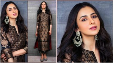 Rakul Preet Singh Exudes Elegance in Her Black Brocade Dress By Payal Khandwala (View Pics)