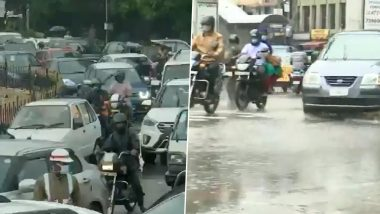 Telangana: Continous Heavy Rainfall in Hyderabad Causes Traffic Snarls and Waterlogging (Watch Video)