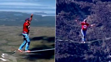 Four German Tightrope Walkers Set World Record by Crossing a 1.3 Mile Long Valley in Swedish Lapland on a 1,970 Feet High Line