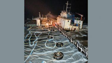 Gujarat: Indian Coast Guard Rescues 12 Crew of MV Kanchan in Distress Off Umargam (Watch Video)